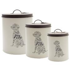 3 Piece Pet Corner Dog Food Storage Tin Set