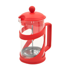 Red 600ml Glass & Stainless Steel French Press