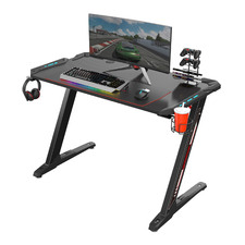 Black Eureka Z1-S Ergonomic Gaming Desk with Blue LEDs