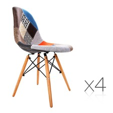 Eames Replica Eiffel Patchwork Dining Chairs (Set of 4)