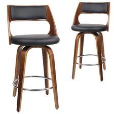 65cm  Marcus Swivel Faux Leather Barstools (Set of 2)