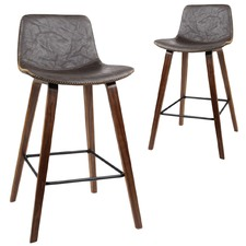 Crinkled Don Faux Leather Barstools (Set of 2)