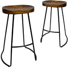 Industrial Moulded Backless Barstools (Set of 2)