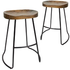 65cm Vintage-Style Elm Wood Counter Stools (Set of 2)