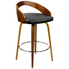 Black Faro Faux Leather Bentwood Barstools (Set of 2)
