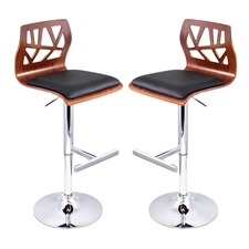 Webbed Faux Leather Modern Barstools (Set of 2)