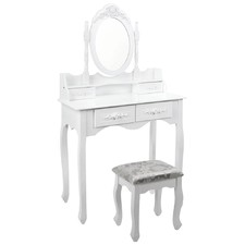 Ornate White Coco Dressing Table & Stool