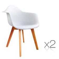 White Eames Replica Tub Chairs (Set of 2)