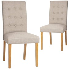 High Back Button Tufted Dining Chairs (Set of 2)