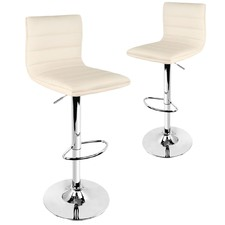 Beige Garrison Faux Leather Barstools (Set of 2)
