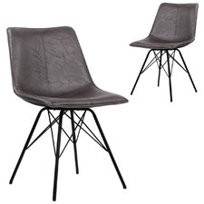 Crinkle Trieste Faux Leather Dining Chairs (Set of 2)
