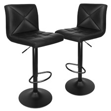 Black Cross Back Faux Leather Barstools (Set of 2)