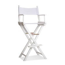 Tall White Director's Bar Chair