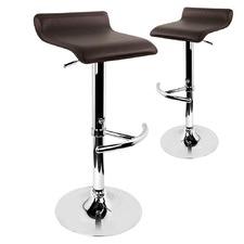 Benjamin Faux Leather Kitchen Adjustable Barstools (Set of 2)