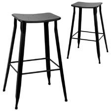 Black Simple Industrial Barstools (Set of 2)