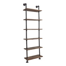 Industrial Metal & Pine Wood Floating Pipe Shelf