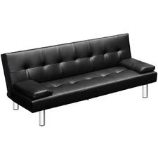 Black 3 Seater Faux Leather Sofa Bed