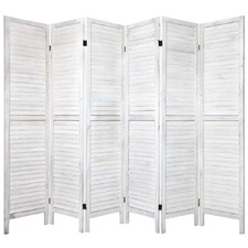 White Rustic 6 Panel Room Divider