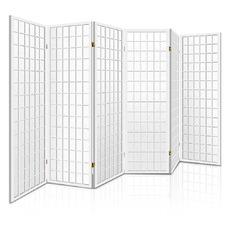 6 Panel White Keiko Pine Wood Room Divider
