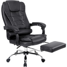 Faux Leather Reclining Office Chair with Footrest