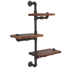 Industrial 3 Tier Floating Pipe Shelf