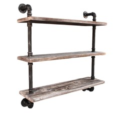 Industrial 3 Level Floating Pipe Wall Shelf