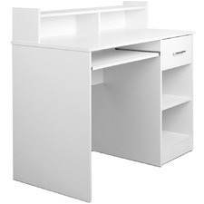 White Office Computer Desk with Storage