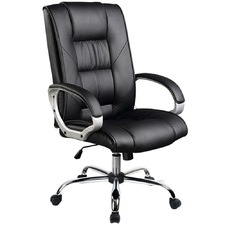Black Swivel Executive Faux Leather Office Chair