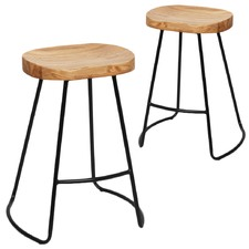 Vintage Elm Wood Counter Stools (Set of 2)