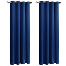 Navy Art Queen Eyelet Blockout Curtains (Set of 2)