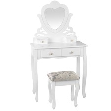 White Artiss Dressing Table with Stool