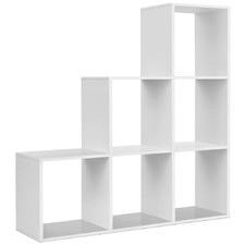White 6 Cube Staircase Display Shelf