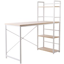 White Metal Desk with Shelves