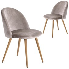 Light Grey Modern Velvet Dining Chairs (Set of 2)