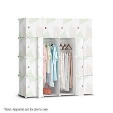 White DIY 16 Cube Stackable Storage Cabinet