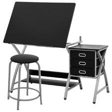 Black 3 Drawer Drafting Table & Stool Set