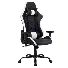 Black & White Melvin Faux Leather Gaming Chair