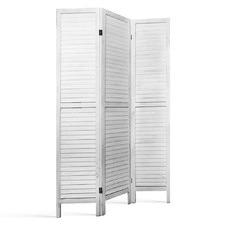 White 3 Panel Wood Foldable Room Divider