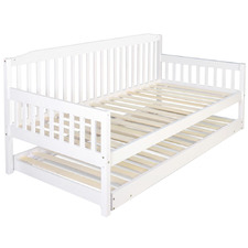 White Fisher Single Pine Wood Trundle Bed