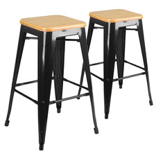 66cm Tolix Replica Bamboo Barstools (Set of 2)