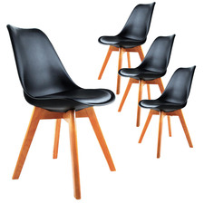 Eames Eiffel Replica Faux Leather Dining Chairs (Set of 4)