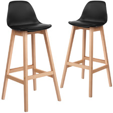 Nathan Padded Beech Wood Barstools (Set of 2)