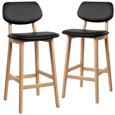 66cm Black Maddie Faux Leather Barstools (Set of 2)