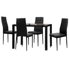 Black Nataniel 4 Seater Dining Set