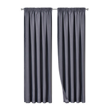Dark Grey Art Queen Pinch Pleat Blockout Curtains (Set of 2)