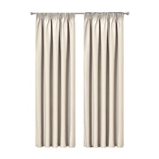 Sand Art Queen Pleated Blockout Curtains (Set of 2)