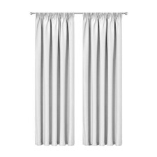 White Art Queen Pinch Pleat Blockout Curtains (Set of 2)