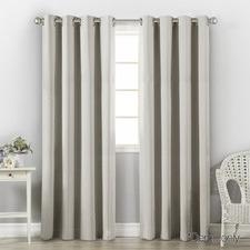 Ecru Art Queen Eyelet Blockout Curtains (Set of 2)