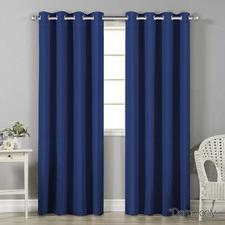 Navy Art Queen Panel Blockout Curtains (Set of 2)