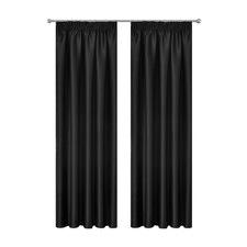 Black Art Queen Pencil Pleat Blockout Curtains (Set of 2)